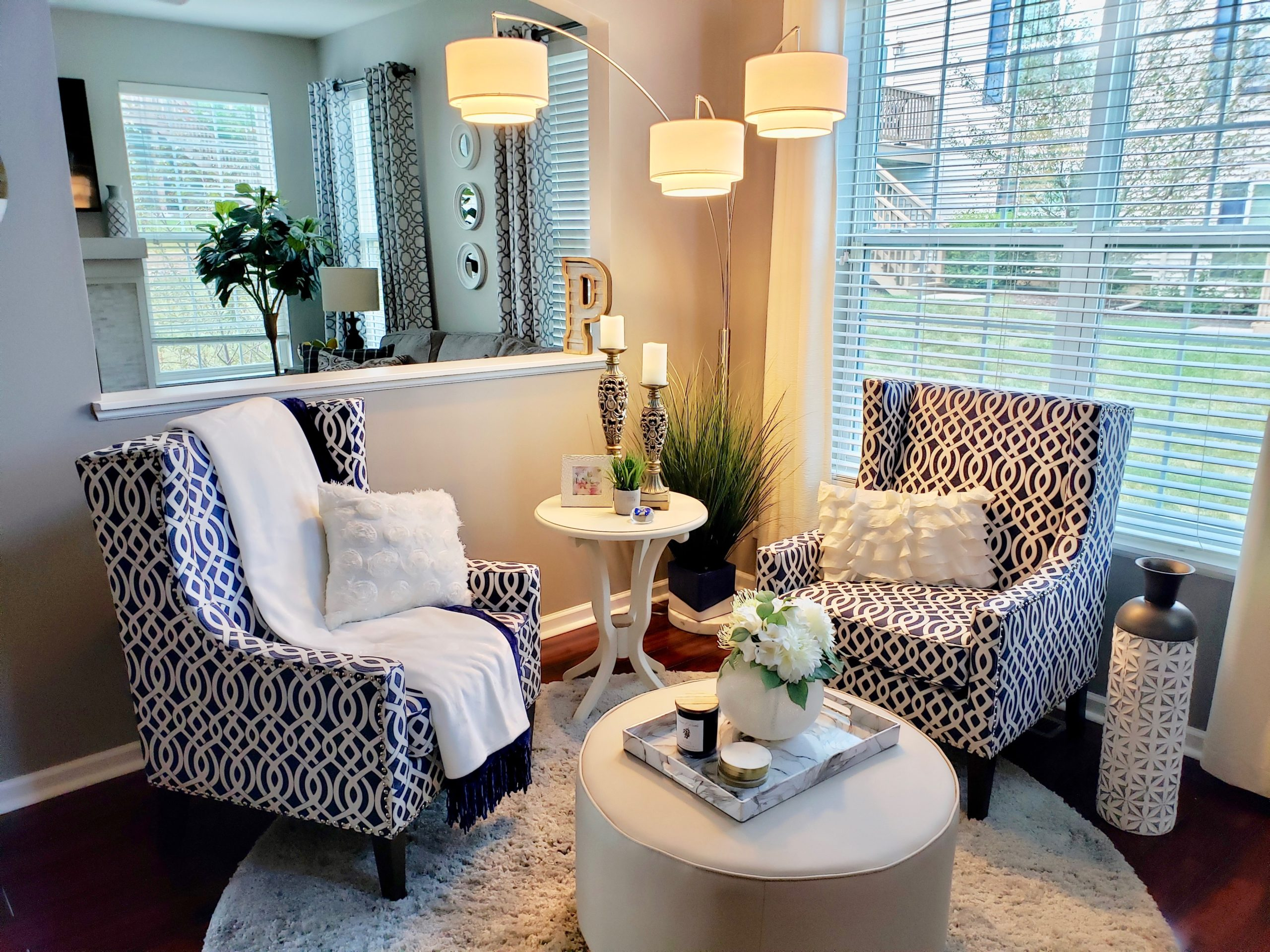 Geo pattern chairs in Living Room