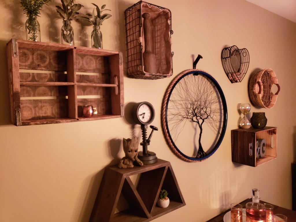 Completed gallery wall using collection of vintage and industrial items